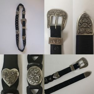 Vintage 90's leather belt with ornate medallions